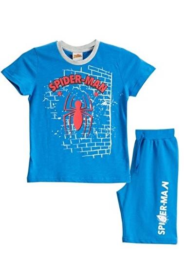 Spider-Man Spiderman Lisanslı Kırmızı Erkek Çocuk Bermuda Takımı Mavi